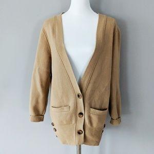 Club Monaco 100% Wool Cardigan Button Down Camel